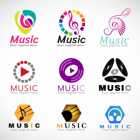 abstract music: Music  vector set design - music key sign and CD play sign and headphone sign Illustration