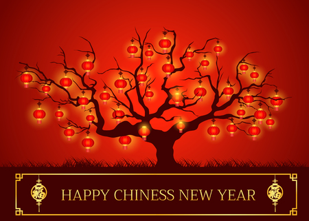 Happy Chinese new year card is lanterns on tree and Chinese word sign is mean happiness