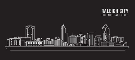 Cityscape Building Line art Vector Illustration design - Raleigh City