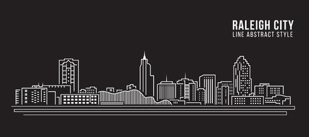 Cityscape rooilijn art Vector Illustratie design - Raleigh Stad