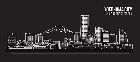 Cityscape illustratie van de kunst het Vectorillustratieontwerp - Yokohama-stad