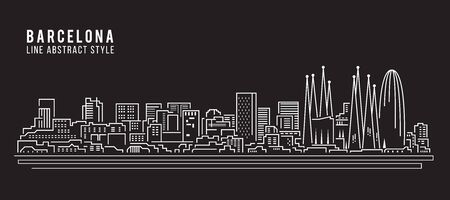 barcelona spain: Cityscape Building Line art Vector Illustration design - Barcelona city
