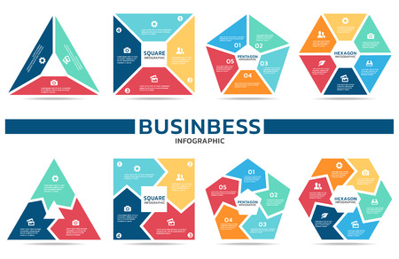 Block infographic for business (part three , part four, part Five and part six) vector set design Ilustração