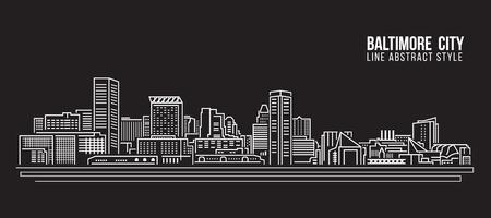 Paysage urbain art bâtiment ligne design Vector Illustration - Baltimore Banque d'images - 61614824