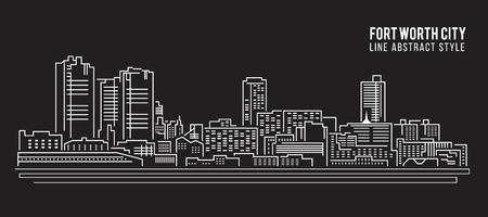 worth: Cityscape Building Line art Vector Illustration design - Fort worth city