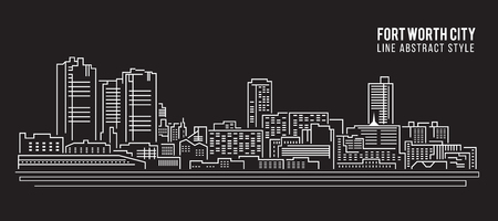 Cityscape Building Line art Vector Illustration design - Fort worth city