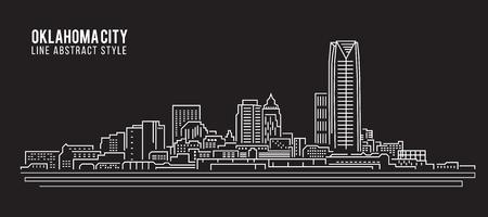oklahoma city: Cityscape Building Line art Vector Illustration design - Oklahoma city