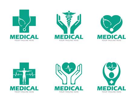 Grüne Medizinische und Logo Vektor-Set Gesundheitswesen Design Standard-Bild - 61614988