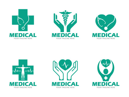 Verde Atención médica y sanitaria logotipo conjunto de vectores de diseño Foto de archivo - 61614988