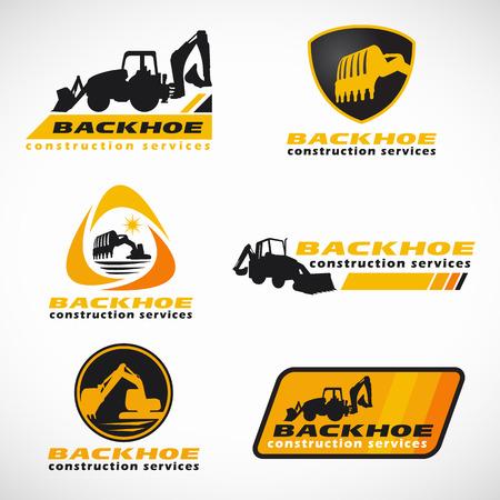 Yellow and black Backhoe construction service vector set design Vettoriali