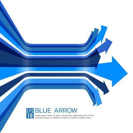 blue arrow: Blue arrow line perspective curve vector art design