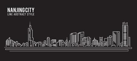 property of china: Cityscape Building Line art Vector Illustration design - Nanjing city Illustration