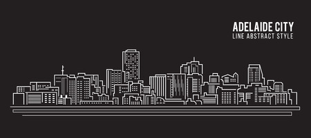 adelaide: Cityscape Building Line art Vector Illustration design - Adelaide city