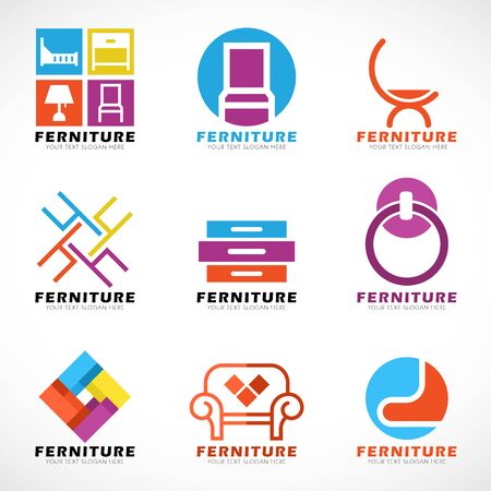 furniture design: furniture and decor modern vector set design