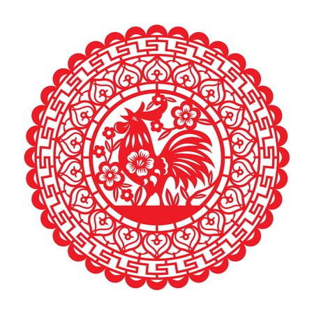 cut: Red Paper cut chicken rooster in circle zodiac symbols for Chinese new year vector art design Illustration