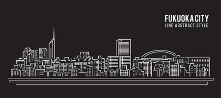 office building: Cityscape Building Line art Vector Illustration design - Fukuoka city