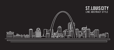 Cityscape Building Line art Vector Illustration design - st. louis city Ilustracja