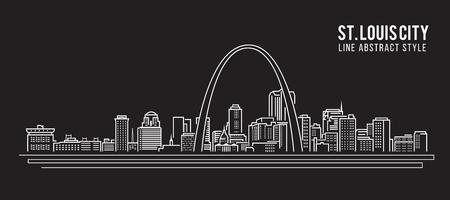 Paisaje urbano Edificio Línea diseño de ilustración, vector - st. ciudad Louis