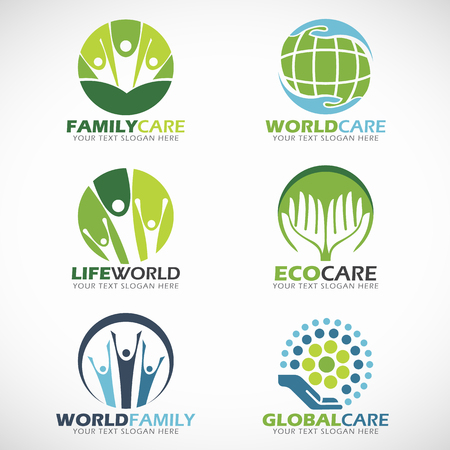 globe world: family care and world care vector set design