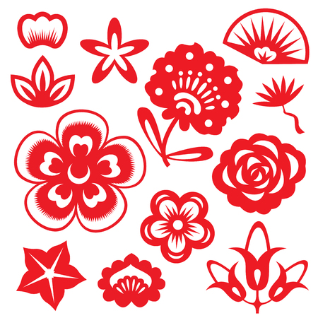 Red paper cut flowers china vector set design