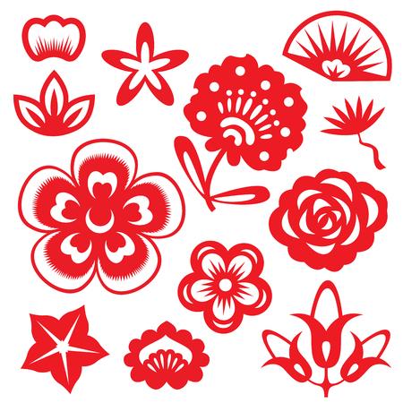 Rojas flores de corte de papel de China vector conjunto de diseño Foto de archivo - 61615198