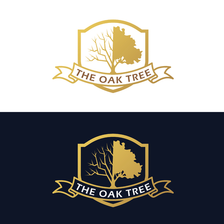 tree symbol: Gold The Oak Tree (half branch and half leaves) and ribbon label vector art design