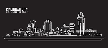 art vector: Cityscape Building Line art Vector Illustration design - Cincinnati city