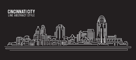 Cityscape Building Line art Vector Illustration design - Cincinnati city
