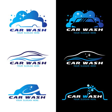 wash: car wash service logo vector set design