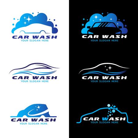 lavado: diseño de logotipo conjunto de vectores servicio de lavado de coches