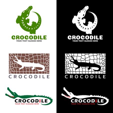 crocodile skin leather: Crocodile and crocodile texture logo vector set design