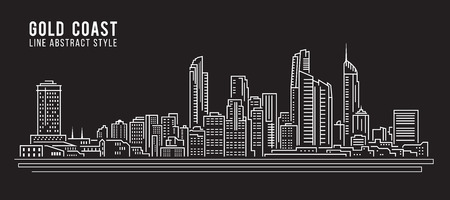 Cityscape Building Line art Vector Illustration design - Gold coast city