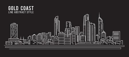 Cityscape Building Line art Vector Illustration design - Gold coast city Illustration