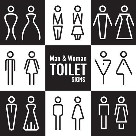 남성과 여성 화장실 라인 기호 벡터 설정 디자인
