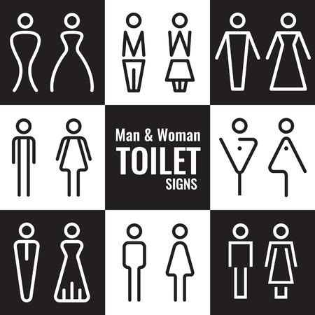 Man and Woman Toilet line sign vector set design
