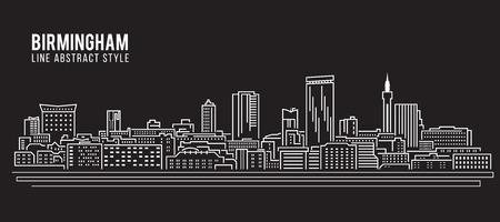 birmingham: Cityscape Building Line art Vector Illustration design - Birmingham city