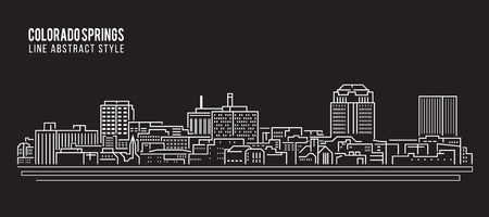 colorado springs: Cityscape Building Line art Illustration design - Colorado springs city Illustration
