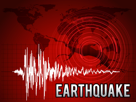 EarthQuake -  frequency wave , map world circle wave and crack floor red tone art design Illustration