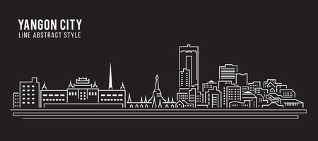myanmar: Cityscape Building Line art Illustration design -Yangon city