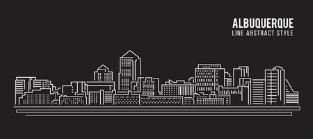 albuquerque: Cityscape Building Line art Illustration design - Albuquerque city Illustration
