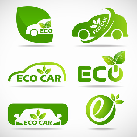 Eco car icon - green leaf and car sign set design Çizim
