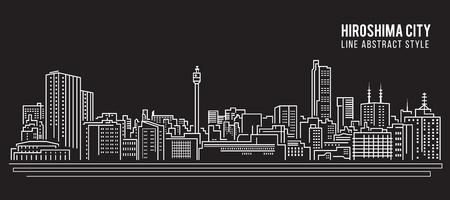Cityscape Building Line art Illustration design - Hiroshima city