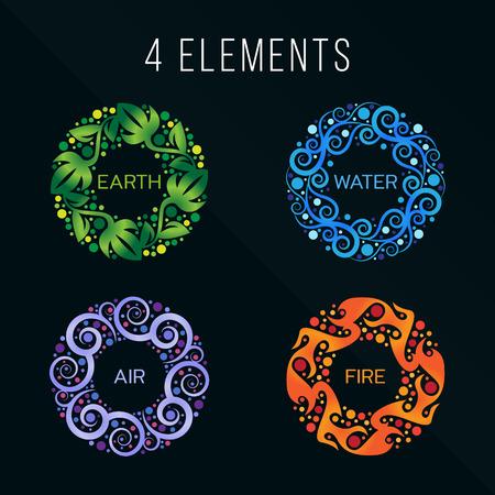 elemento: Natura 4 elementi cerchio segno astratto. Acqua, Fuoco, Terra, Aria. su sfondo scuro. Vettoriali
