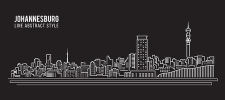 johannesburg: Cityscape Building Line art Illustration design - Johannesburg City