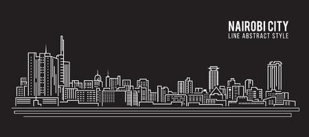 kenya: Cityscape Building Line art Illustration design - Nairobi city