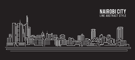 Cityscape Building Line art Illustration design - Nairobi city Ilustração Vetorial