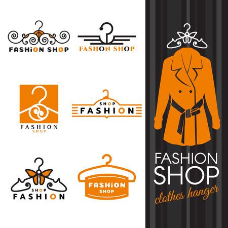negozio di moda icona - camicie arancio e vestiti set appendiabiti di design