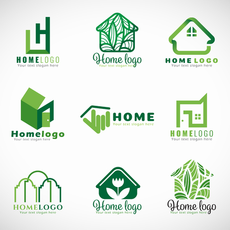 Green home icon ( nature and modern concept ) set design