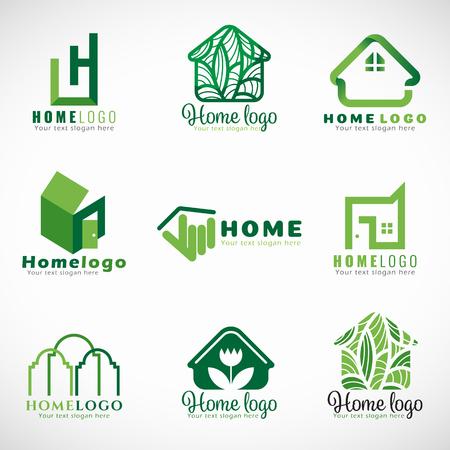 Green home icon (natuur en modern concept) set design