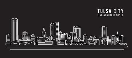 Cityscape Building Line art Illustration design - Tulsa city